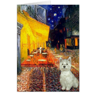 Terrace Cafe - Westie (S) Greeting Card