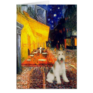 Terrace Cafe - wire Fox Terrier #1 Greeting Card