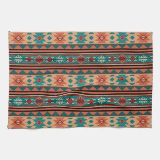 Terracota al sudoeste de la turquesa del diseño toalla de mano
