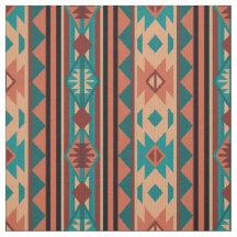 Terracota al sudoeste de la turquesa del diseño tela