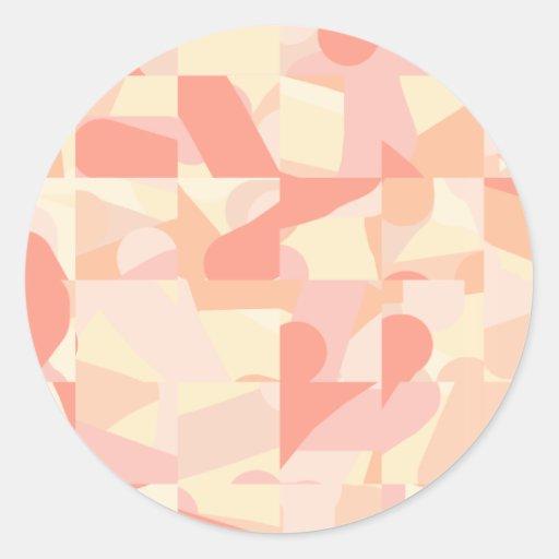 Terracota del modelo, rosa y colores abstractos de pegatina redonda
