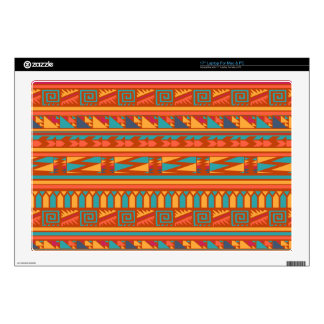 "Terracotta Abstract Aztec Tribal Print Pattern 17"" Laptop Decal"