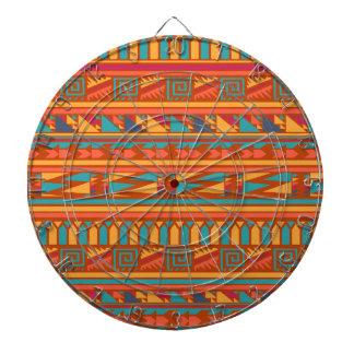 Terracotta Abstract Aztec Tribal Print Pattern Dartboard With Darts
