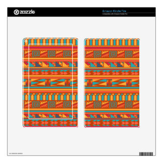 Terracotta Abstract Aztec Tribal Print Pattern Decal For Kindle Fire