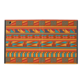 Terracotta Abstract Aztec Tribal Print Pattern iPad Folio Cases