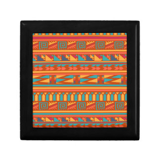 Terracotta Abstract Aztec Tribal Print Pattern Jewelry Box