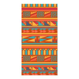 Terracotta Abstract Aztec Tribal Print Pattern Photo Card