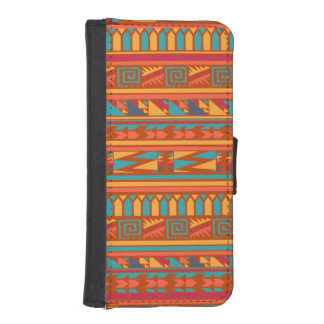 Terracotta Abstract Aztec Tribal Print Pattern iPhone 5 Wallet Case
