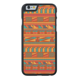 Terracotta Abstract Aztec Tribal Print Pattern Carved® Maple iPhone 6 Slim Case