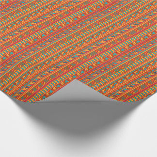 Terracotta Abstract Aztec Tribal Print Pattern Gift Wrap Paper