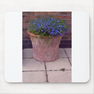 Terracotta and Blue Flowers Mouse Mats