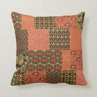 Terracotta, Black Egyptian Tribal Faux Patchwork Throw Pillow