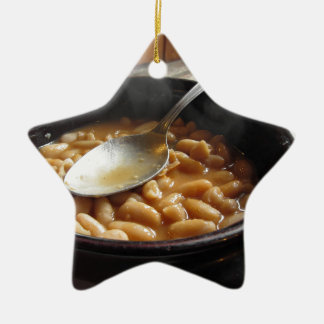 Terracotta bowl with beans . Tuscan typical recipe Ceramic Ornament