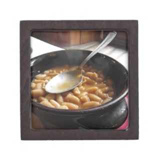 Terracotta bowl with beans . Tuscan typical recipe Keepsake Box