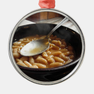Terracotta bowl with beans . Tuscan typical recipe Metal Ornament