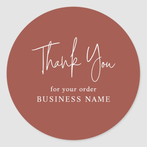 Terracotta Business Thank You Packaging Classic Round Sticker