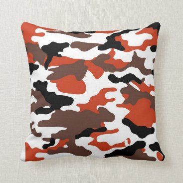 Terracotta Camo Throw Pillow