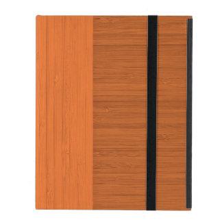 Terracotta Clay Bamboo Border Wood Grain Look iPad Folio Case