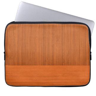 Terracotta Clay Bamboo Border Wood Grain Look Laptop Sleeve