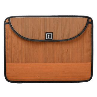 Terracotta Clay Bamboo Border Wood Grain Look Sleeve For MacBook Pro