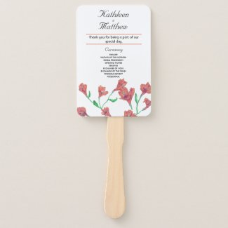 Terracotta Clematis Watercolor Floral Wedding Hand Fan