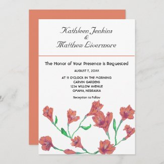 Terracotta Clematis Watercolor Floral Wedding Invitation
