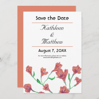 Terracotta Clematis Watercolor Floral Wedding Save The Date