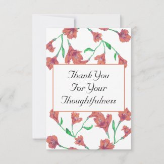Terracotta Clematis Watercolor Floral Wedding Thank You Card