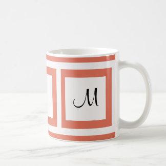 Terracotta Color Monogram Classic White Coffee Mug