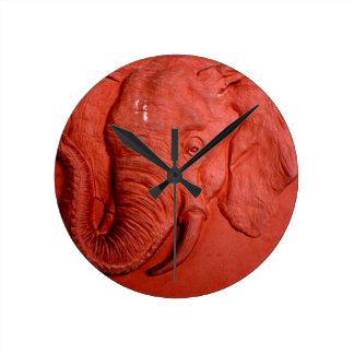 """Terracotta Elephant"" by Carter L. Shepard"" Round Clock"