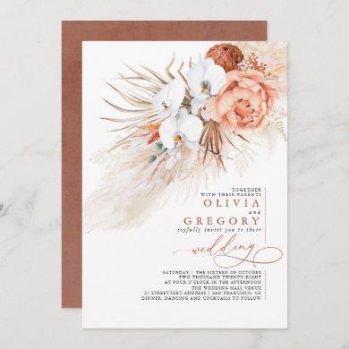 Terracotta Floral Pampas Grass Tropical Wedding Invitation