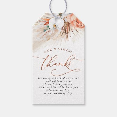 Terracotta Floral Pampas Grass Wedding Gift Tags