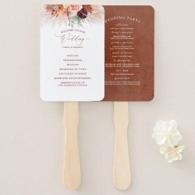 Terracotta Floral Wedding Program Hand Fan