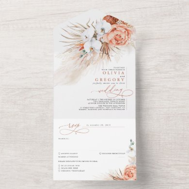 Terracotta Flowers and Pampas Grass Exotic Wedding All In One Invitation