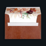 """Terracotta Flowers Pampas Grass Elegant Envelope<br><div class=""""desc"""">Terracotta orange and burgundy red flowers watercolor pampas grass envelopes</div>"""