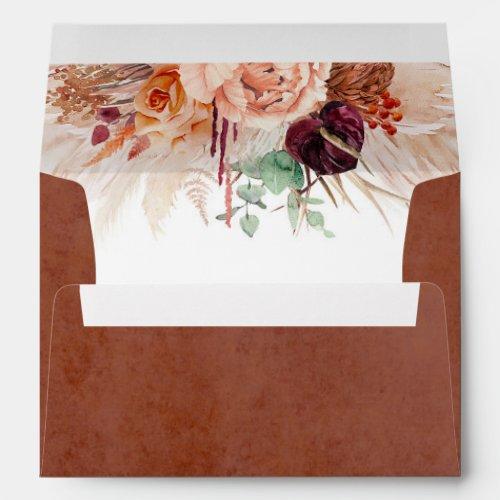 Terracotta Flowers Pampas Grass Elegant Envelope