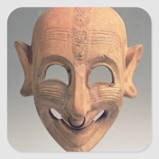 Terracotta grinning mask from San Sperate, 6th-5th Square Sticker