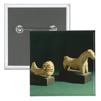 Terracotta lion and horse, Mohenjodaro 2300-1750 B 2 Inch Square Button