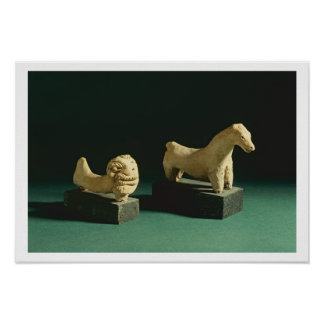 Terracotta lion and horse, Mohenjodaro 2300-1750 B Poster