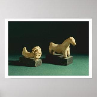 Terracotta lion and horse, Mohenjodaro 2300-1750 B Poster