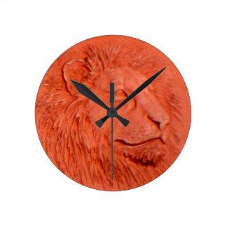 """Terracotta Lion"" by Carter L. Shepard"" Round Clock"