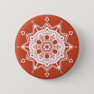 Terracotta Mandala Pinback Button