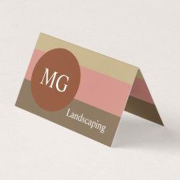 Terracotta Palette Modern Minimal Round Monogram Business Card