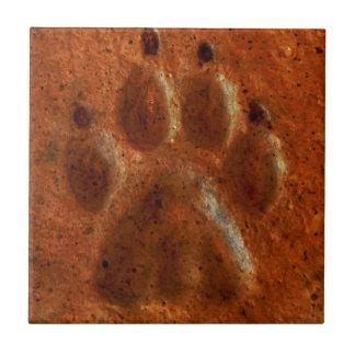 """Terracotta Paw Print"" by Carter L. Shepard"" Tile"