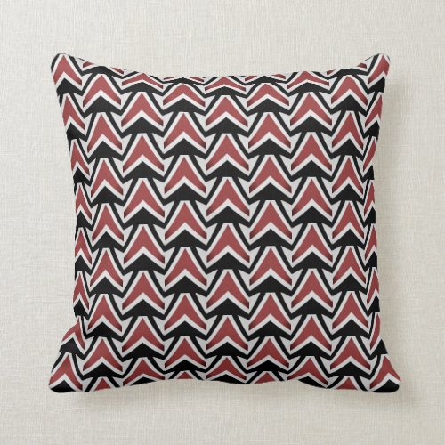 Terracotta Red Black Gray Abstract Pattern Elegant Throw Pillow