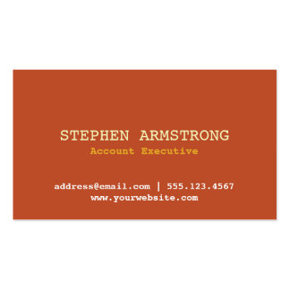 Terracotta simply modern professional executive Double-Sided standard business cards (Pack of 100)