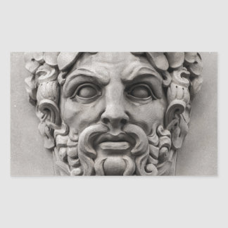 Terracotta Stone Faces on Historic Building Rectangular Sticker