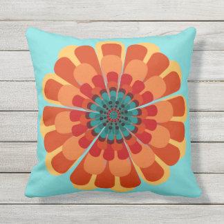 Terracotta & Teal Flower Throw Pillow