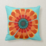 Terracotta & Teal Flower with Red Orange Border Throw Pillow