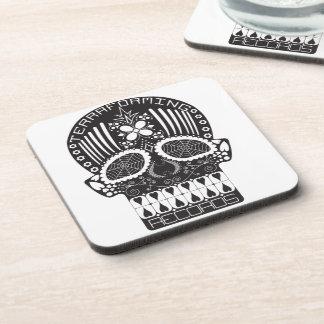 Terraforming Records Black Skull Cork Coaster